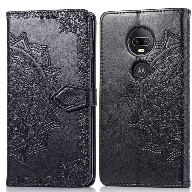 Case For Motorola Moto G7 Card Holder / Flip Full Body Cases Solid Colored Hard PU Leather for Moto G7