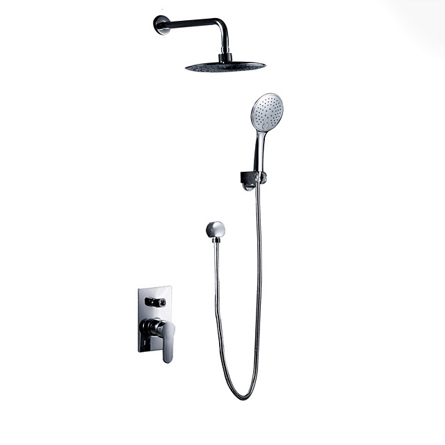 Shower Faucet Set - Handshower Included Chrome Wall Mounted Ceramic Valve Bath Shower Mixer Taps / Brass / Single Handle One Hole