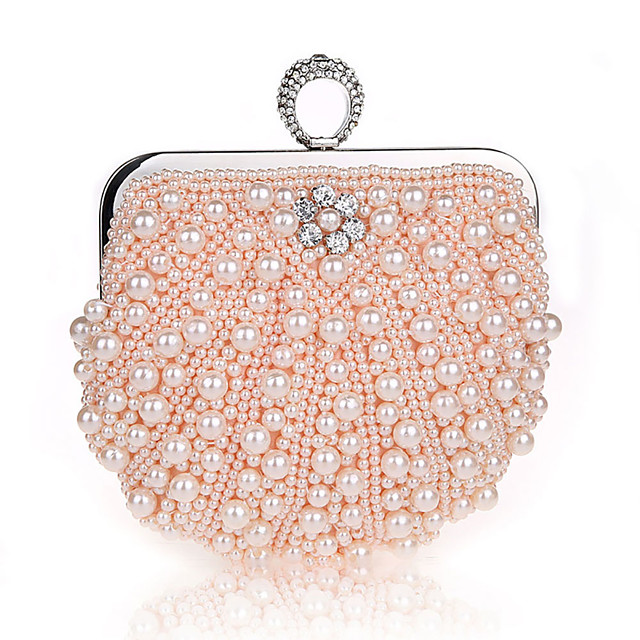 Women's Crystals / Pearls Polyester Evening Bag Solid Color Black / Champagne / Beige