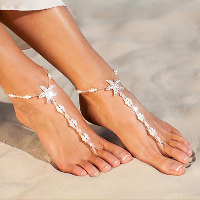 Barefoot Sandals Cute Women's Body Jewelry For Daily Imitation Pearl Alloy Starfish Shell White 1pc