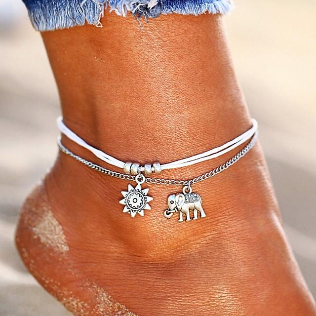 Bracelet de Cheville pour Femme avec breloque Tortue en Imitation Turquoise Double Couche Bijou de Plage pour Votre Petite Amie quanju cheer