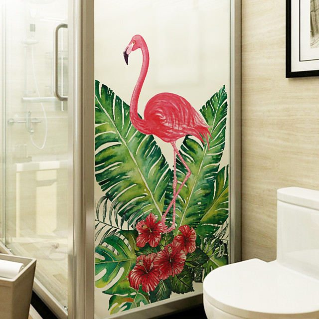 Flamingo Leaves Window Film & Stickers Decoration Matte / Animal Floral / Character PVC(PolyVinyl Chloride) Matte Sticker / Window Sticker / Matte