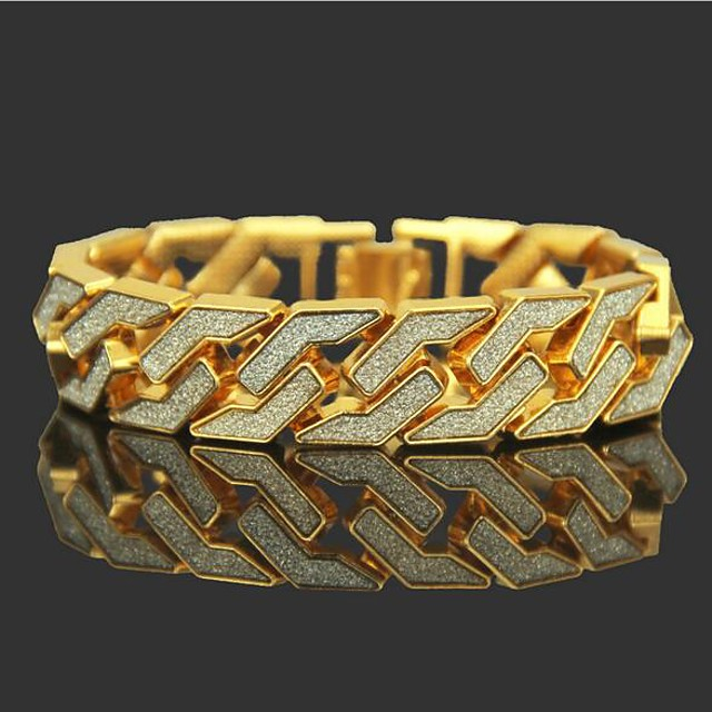 Men's Chain Bracelet Tennis Bracelet Wide Bangle Cut Out Precious Punk Rock 18K Gold Plated Bracelet Jewelry Gold / Silver For Daily Street / Rhinestone