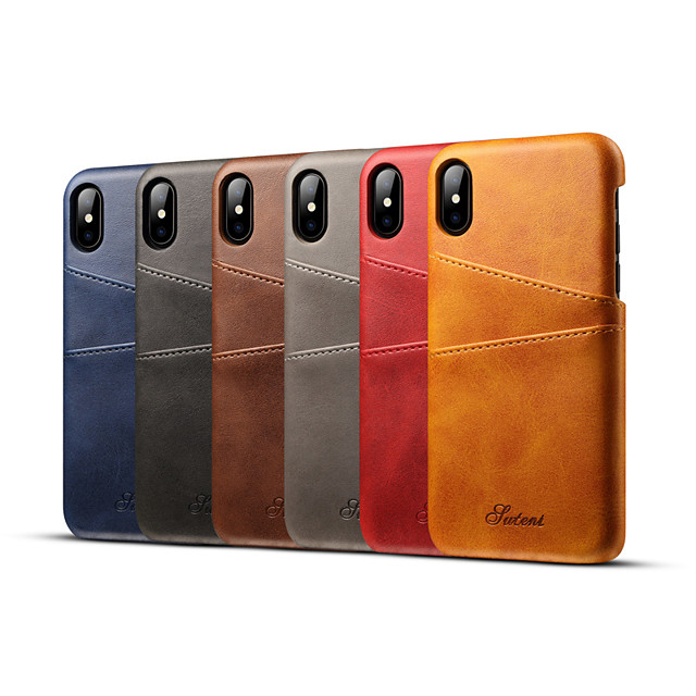Phone Case For Apple Back Cover Leather iPhone 12 Pro Max 11 SE 2020 X XR XS Max 8 7 6 Card Holder Solid Color Hard Genuine Leather