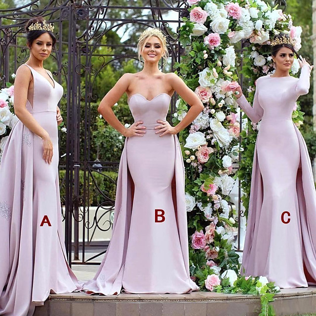 Mermaid / Trumpet V Neck / Sweetheart Neckline Sweep / Brush Train Jersey Bridesmaid Dress with Appliques