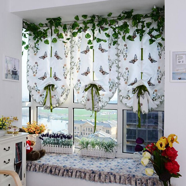 Rod Pocket 100CM*80CM Contemporary One Panel Sheer Bedroom   Curtains
