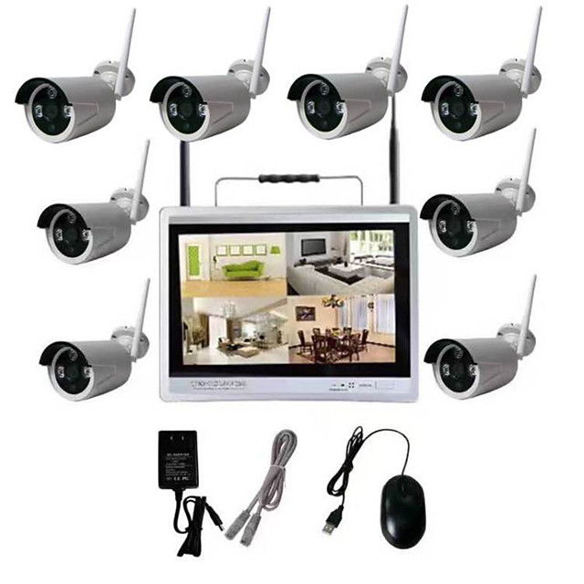 8CH 720P CCTV Hot Products 8CH 720P Network Video Recorder WIFI Wireless NVR Wireless IP Camera NVR kit