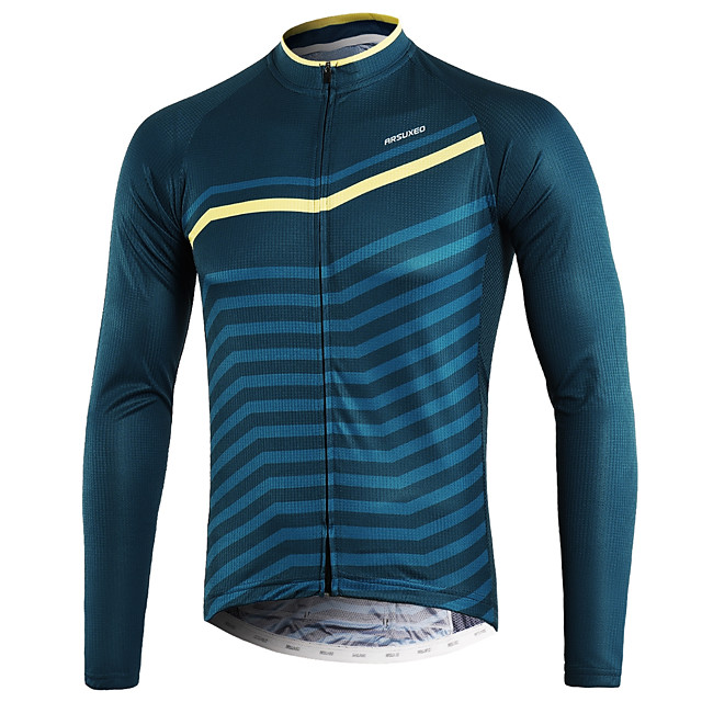 Arsuxeo Men's Long Sleeve Cycling Jersey Winter Blue+Yellow Bike Top Mountain Bike MTB Road Bike Cycling Back Pocket Sweat-wicking Sports Clothing Apparel / Micro-elastic / Triathlon / Italian Ink