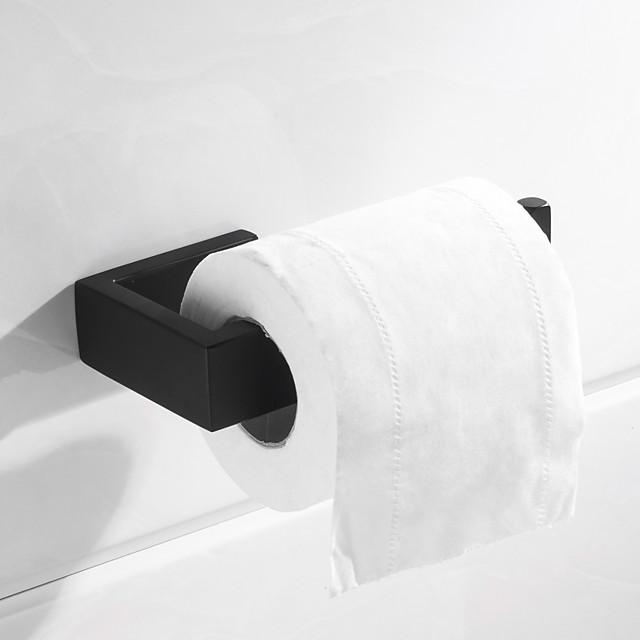держатель для туалетной бумаги новый дизайн металлический прямоугольник одинарный стержень для ванной настенный матовый черный 1 шт.
