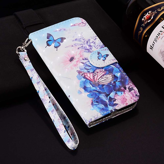 Case For Apple iPhone XR / iPhone XS Max Pattern / Flip / with Stand Full Body Cases Laser 3D Pansy Hard PU Leather for iPhone 6 / 6 Plus / 6S / 6S Plus / 7 / 7 Plus / 8 / 8 Plus / XS / X