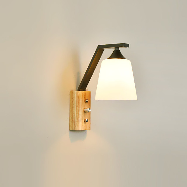 1 Light Wall Lamps & Sconces Wooden Wall Lights with Glass Shade and ON/OFF Switch for Living Room / Bedroom Dimmable