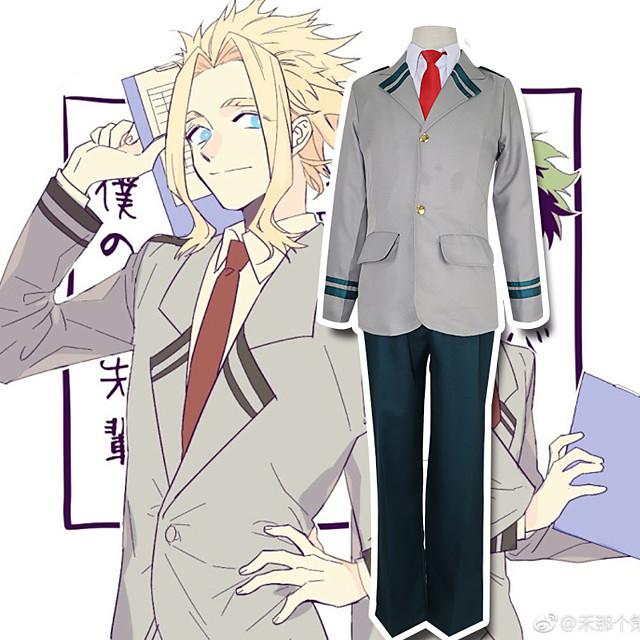 Esinlenen Cosplay My Hero Academia / Boku No Hero Midoriya Izuku Todoroki Shoto Anime Cosplay Kostümleri Japonca Cosplay Takımları Kırk Yama Uzun Kollu Palto Bluz Pantalonlar Uyumluluk Erkek / Düğüm