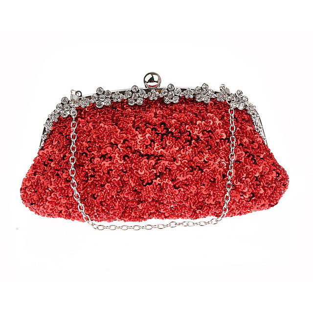 Women's Sequin / Chain Polyester Evening Bag Solid Color Black / Purple / Champagne