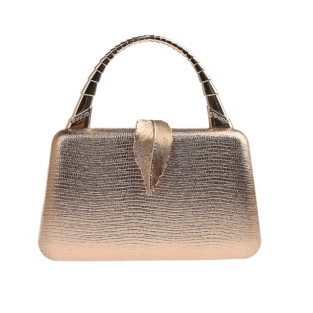 Women's Polyester / Alloy Evening Bag Solid Color Black / Champagne / Gold