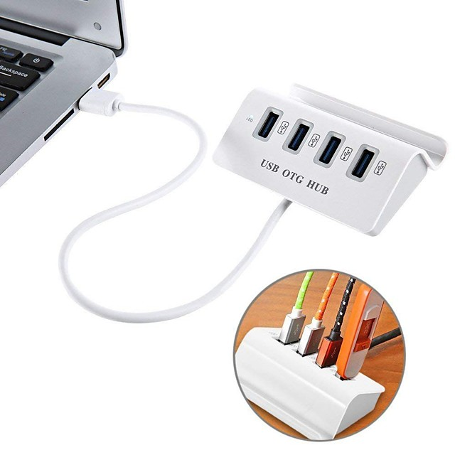 USB 3.1 Type-C to 4-Port USB 2.0 OTG HUB with Phone Stand Holder USB-C On-The-Go(OTG) HUB for MacBook Laptop Tablets and More Type-C Devices
