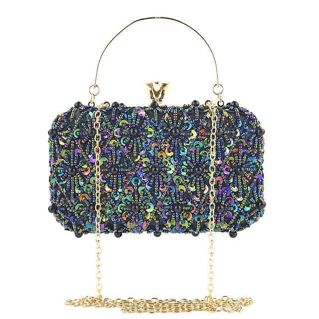 Women's Chain Polyester Evening Bag Solid Color Black / White / Blushing Pink