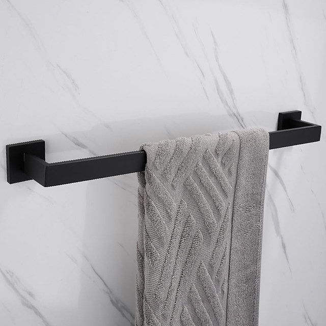Towel Bar New Design Metal Stainless Steel Bathroom Single Rod Towel Rack Wall Mounted Matte Black 1PC