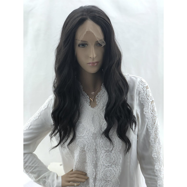 Wavy Matte Layered Haircut Lace Front Wig Medium Length Medium Brown Synthetic Hair 20 inch Women's Fashionable Design Party Women Black