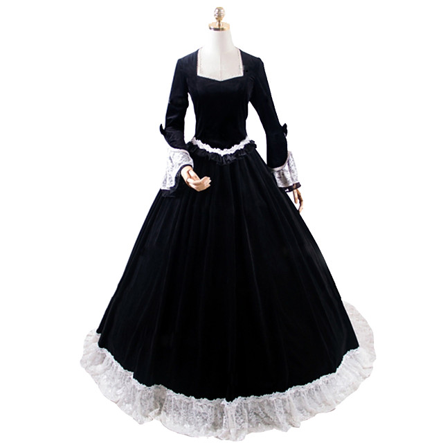 Princess Rococo Victorian Dress Party Costume Costume Women's Cotton Costume Black Vintage Cosplay Masquerade Party & Evening Long Sleeve Floor Length Long Length Plus Size
