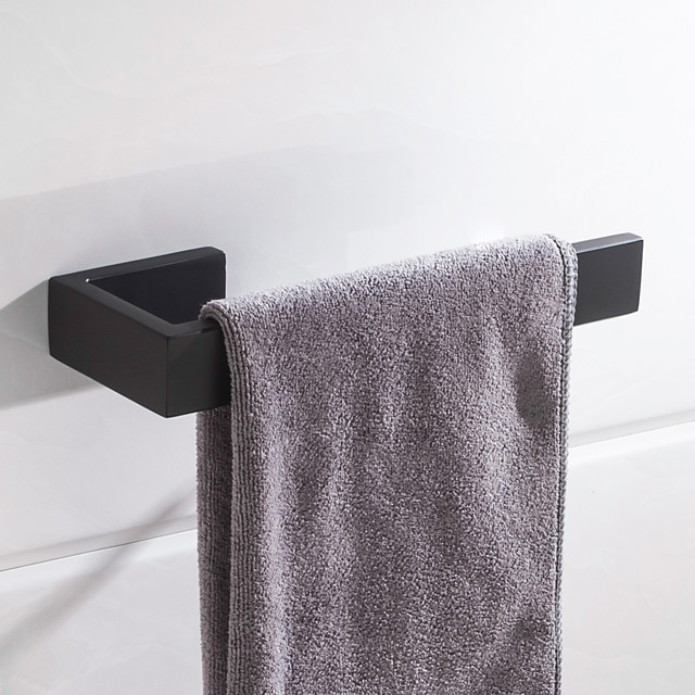 Towel Bar New Design Metal Stainless Steel Bathroom Single Rod Matte Black Wall Mounted1pc