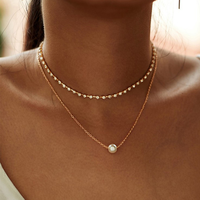 Fashion Multi-layer Simple Rhinestone Chain Choker Necklace For Women New Gold Color Alloy Chain Zircon Pendant Necklace Gift