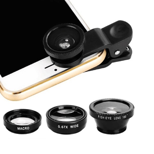 Mobile Phone Lens Fish-Eye Lens ABS+PC 25 mm 180 ° Lens with Case / Cool