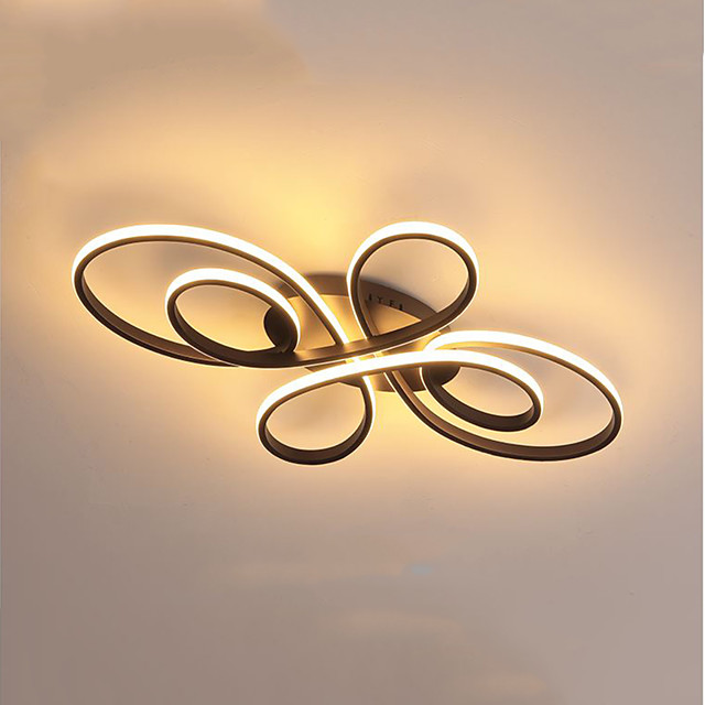 1-Light Geometrical Ring Dimmable Flush Mount Lights Ceiling Lights Linear Painted Finishes Aluminum Silica gel Hanging Lamp with Remote Control