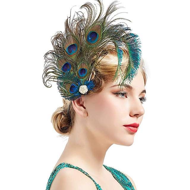 Charleston Vintage 1920s The Great Gatsby Flapper Headband Women's Feather Costume Green Vintage Cosplay Festival