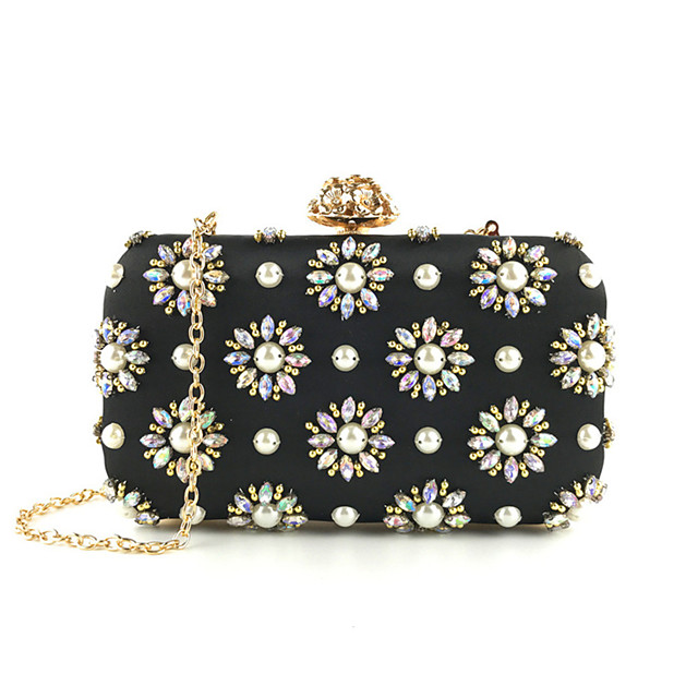 Women's Crystals / Chain Polyester Evening Bag Floral Print Black
