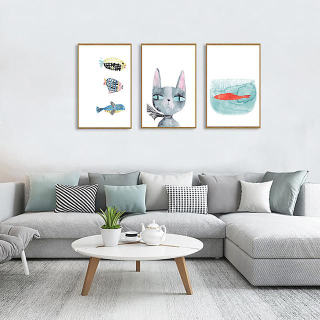 Framed Art Print Framed Set - Animals Cartoon PS Illustration Wall Art