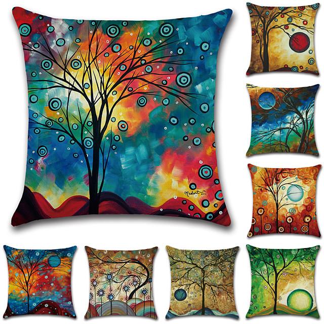 Set of 8 Cotton / Linen Pillow Cover, Botanical Graphic Prints Rustic Vintage Throw Pillow