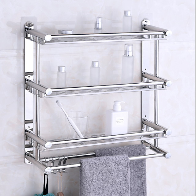 Bathroom Shelves Stainless Steel Bathroom Rack Wall-mounted Three-tier Bathroom Corner Rack with 4 Hooks