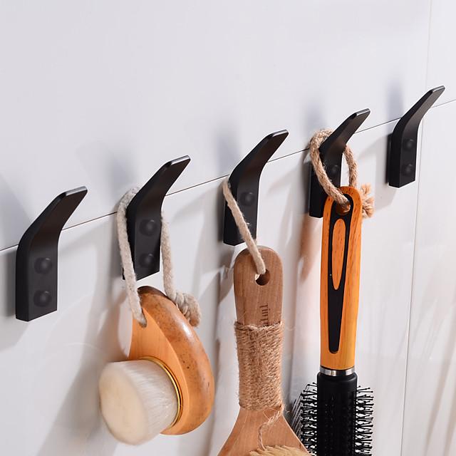 Robe Hooks Creative Aluminum 5pcs for Bathroom Matte Black Hooks Wall Mounted