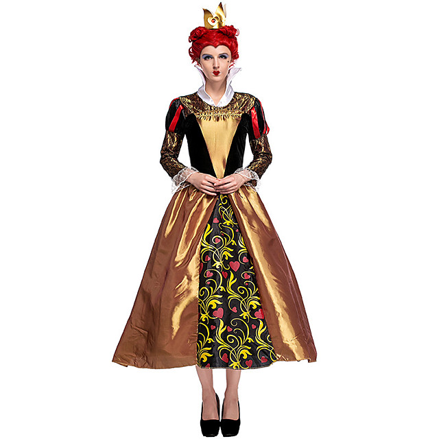 Queen of Hearts Dress Hat Outfits Women's Movie Cosplay Halloween Golden Dress Headwear Halloween Carnival Masquerade Polyster