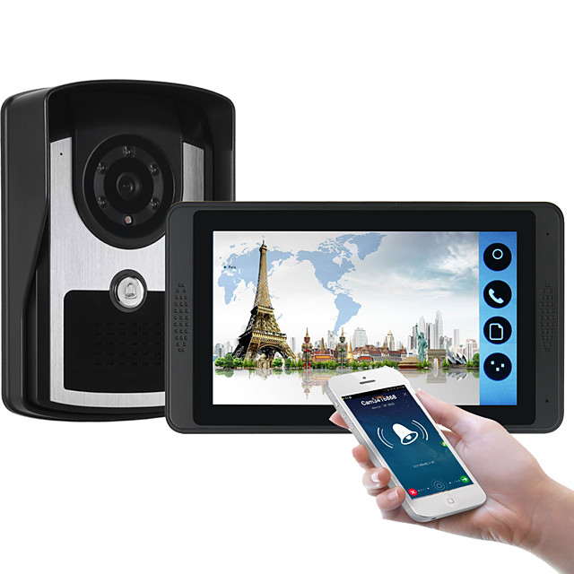 618FC11 7 inch capacitive touch screen video camera wired video doorbell wifi / 3G / 4G remote call unlock storage visual intercom one to one