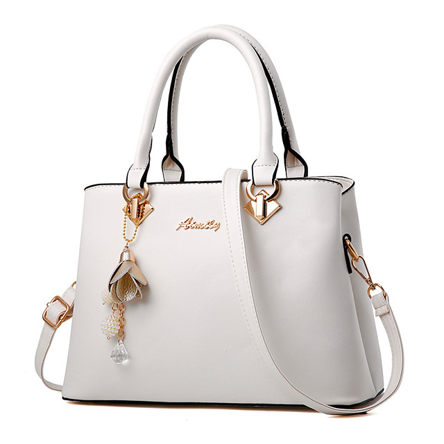 Women's Bags PU Leather Satchel Top Handle Bag Zipper Solid Color Leather Bags Shopping Daily Wine White Black Red