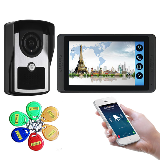 7 inch capacitive touch screen video camera wired video doorbell wifi / 3G / 4G remote call unlock storage visual intercom external machine ID card function one to one