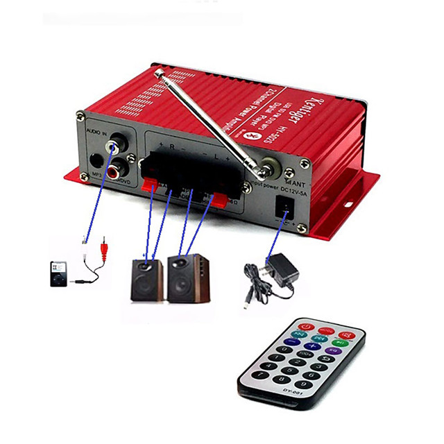 Car Bluetooth USB FM Power Amplifier Household 12V 3A Mini Hi-Fi Stereo Audio AMP with Remote Control Support FM/MP3/SD/USB/DVD