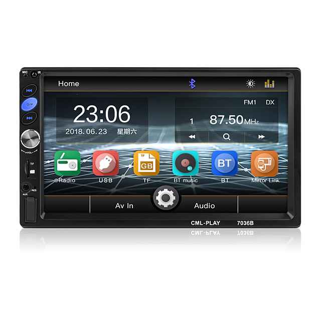 7 Inch Bluetooth 2 Din Mirror Link For Android 8.0 support Rear Camera car Radio Player LCD Touch Screen Car Audio FM 2 din 7036B