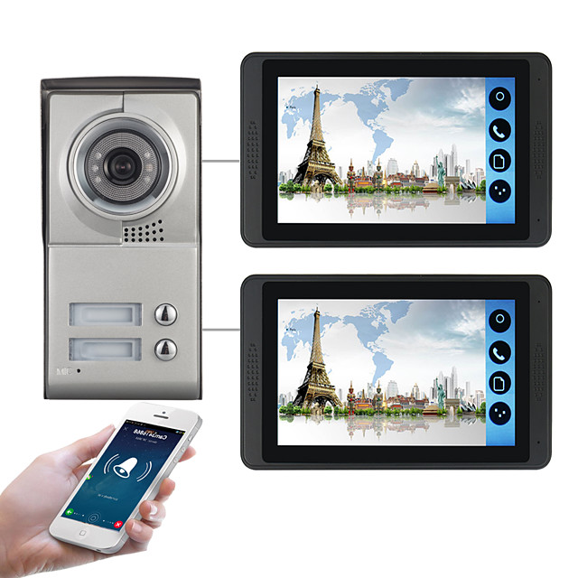 618MC12 7 inch capacitive touch screen video camera wired video doorbell wifi / 3G / 4G remote call unlock storage visual intercom two-bedroom