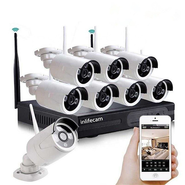 8CH 720P HD Waterproof Plug and Play Wireless NVR Kit Security System Wifi Ip Kit