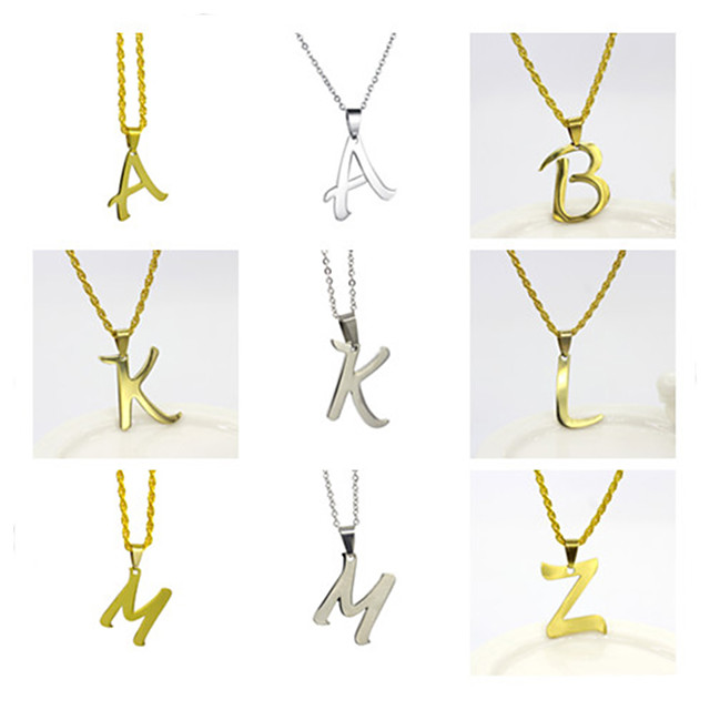 Men's Women's Silver Gold Pendant Necklace Charm Necklace X Alphabet Shape Vintage Stainless Steel Gold Silver 50 cm Necklace Jewelry 1pc For Daily