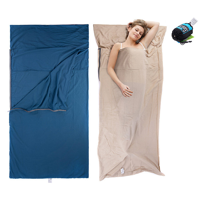 Camping Sleeping Bag Liner Outdoor Camping Envelope / Rectangular Bag +15 °C Single Cotton Portable Breathable Warm Ultra Light (UL) Comfortable Skin Friendly 210*100 cm Spring Summer Fall for Beach