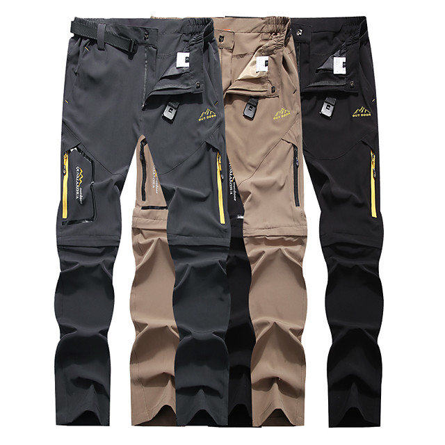 Men's Hiking Pants Trousers Convertible Pants / Zip Off Pants Solid Color Summer Outdoor Waterproof Quick Dry Lightweight Breathable Elastane Zipper Pocket Elastic Waist Pants / Trousers Bottoms Army