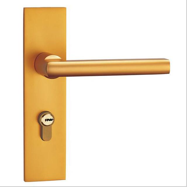 Space aluminum gold mute door lock indoor lock bedroom door bathroom door lock double tongue handle lock