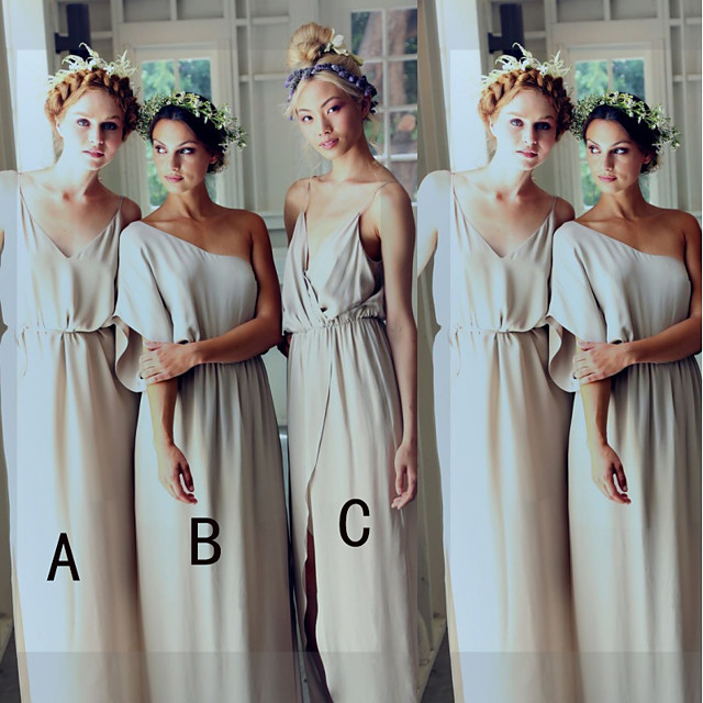 A-Line One Shoulder / Spaghetti Strap Floor Length Chiffon Bridesmaid Dress with Split Front