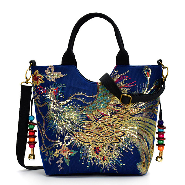 Women's Bags Canvas Top Handle Bag Embroidery Embroidery Floral Print Retro Daily Office & Career Black Blue Red