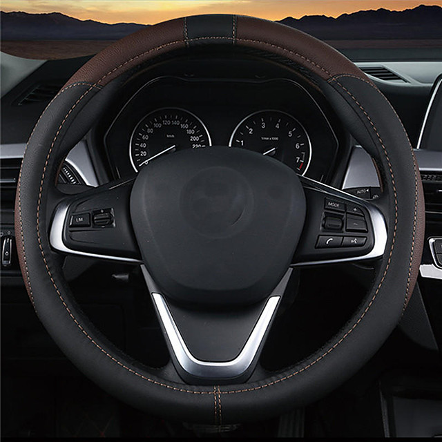 Steering Wheel Covers Leather 38cm Black / Black / Red / Coffee For Toyota / Mazda / Honda All Models All years