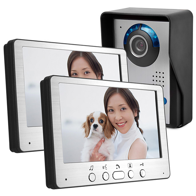 7 inch cable HD video doorbell night vision rain angle adjustable cable video intercom pair 815FA12