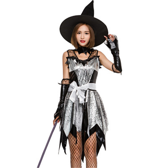 Witch Cosplay Costume Masquerade Adults' Women's Halloween Christmas Halloween Carnival Festival / Holiday Lace Polyster Black Carnival Costumes Patchwork Holiday Halloween